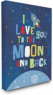 The Kids Room by Stupell The Love You Moon and Back Rocket Ship Stretched Canvas Wall Art