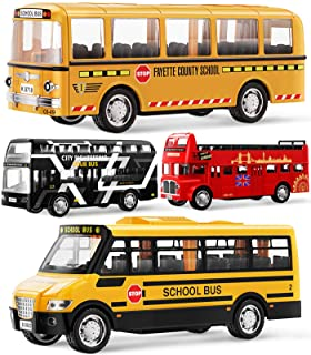 Geyiie Bus Toys for Kids, School Bus for Toddler Die Cast Yellow Bus Set Pull Back Cars Toys Play Vehicle, City Bus London...