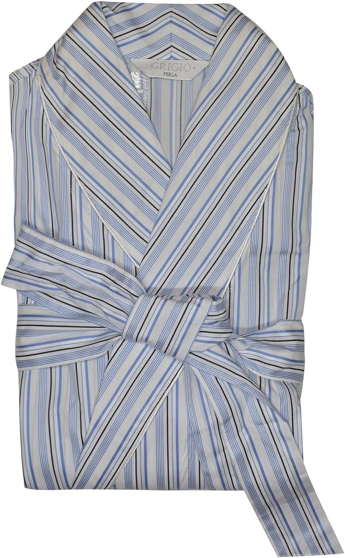 Grigio Perla Blue Striped Cotton Robe