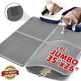 "Upgraded Cat Litter Mats Extra Large 35""x26""(17.5""x26""x2Pcs),Anti-urine Cat Litter Mat Litter Trapping,Cat Mats for Litter Box,Kitty Litter Box Mat Double-Layer Waterproof PU Edge (Can Be Spliced)"