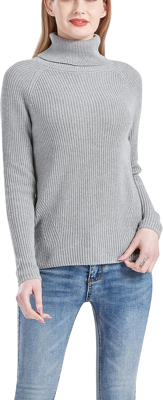 Gilboa Women's 100% Cotton Turtleneck Pullover Chunky Sweater