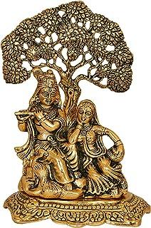 Vrindavan Bazaar Radha Krishna Sitting Under Tree Idol Metal Statue Showpiece