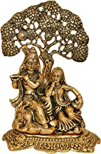 Vrindavan Bazaar Radha Krishna Sitting Under Tree Idol Metal Statue Showpiece