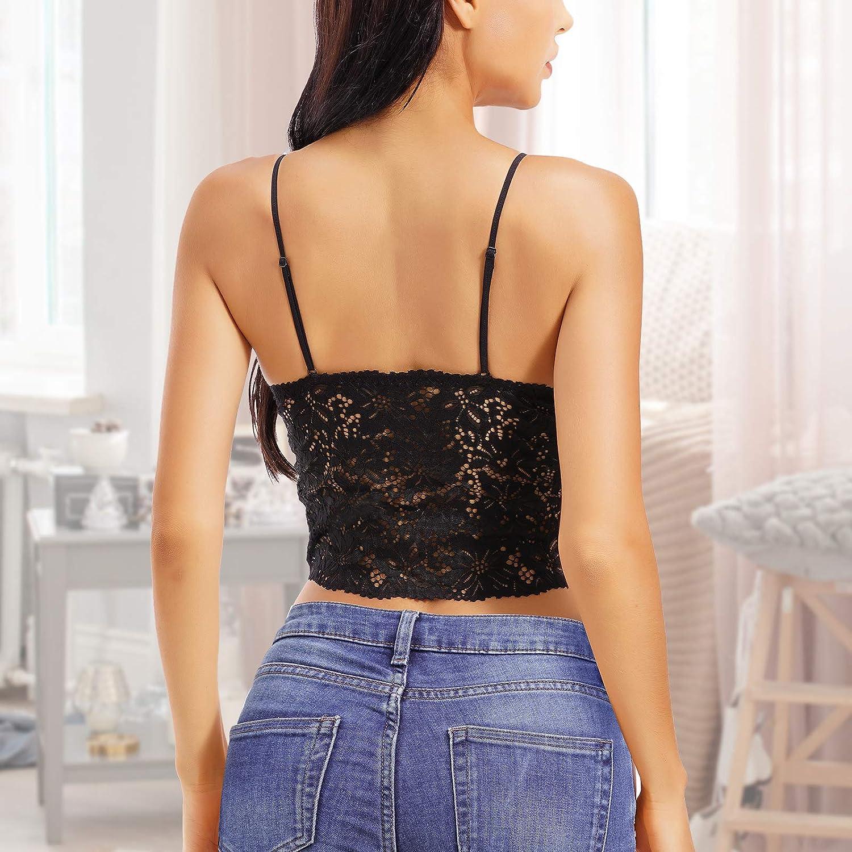 KANILANS Lace Bra Camisole Bralette for Women Halter Deep V Neck Cami Wireless Adjustable Crop Top