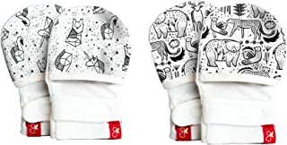 Goumimitts, Scratch Free Baby Mittens, Organic Soft Stay On Unisex Mittens, Stops Scratches and Prevents Germs (0-3 Months, Faces in the Stars - Kinship)