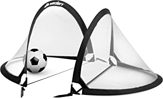 Collapsible Soccer Goal Set of 2 with Travel Bag - Ultra Portable 4 Foot Instant Pop Up Football Goal Nets for The Beach| Playground | Backyard | Camping - Kids Soccer Training Nets
