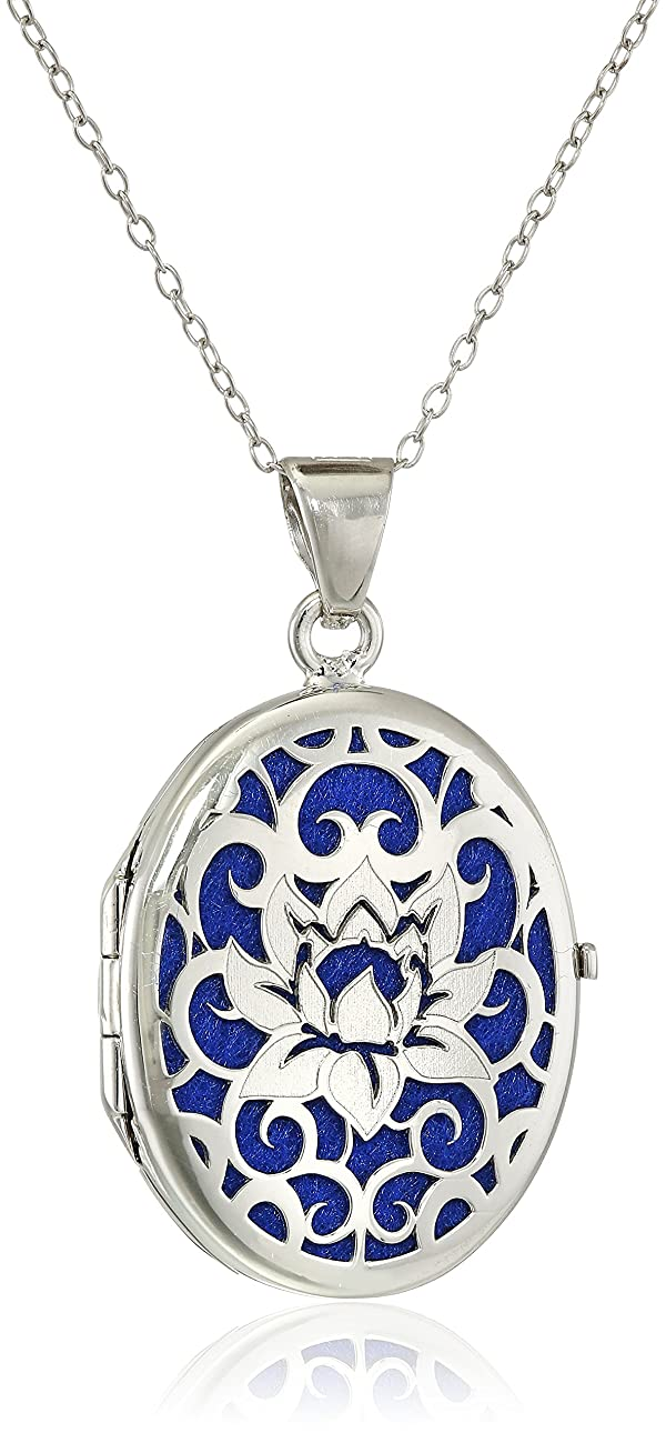 Italian Sterling Silver Lotus Flower Locket Necklace, 18