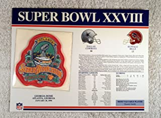 Super Bowl XXVIII (1994) - Official NFL Super Bowl Patch with complete Statistics Card - Dallas Cowboys vs Buffalo Bills - Emmitt Smith MVP