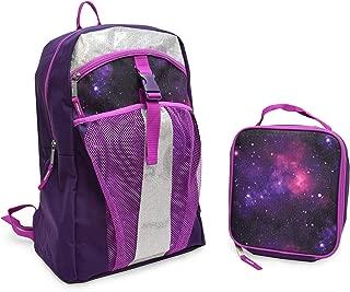 "Rugged Equipment PROSPORT Lightweight Back to School Backpack with Mesh Pocket, Extra Zipper Pocket, and Bonus Lunch Bag. Purple Navy Galaxy Design. 17""x6""x12"""