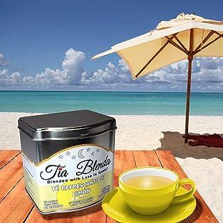 TIA BLENDA - TÉ REFRESCANTE DE LIMÓN (80 g) – Delicado TÉ VERDE Sencha Japonés Premium con LIMÓN. Té en hojas. 45 - 55 tazas. Presentación premium en lata. Loose Tea Caddy.