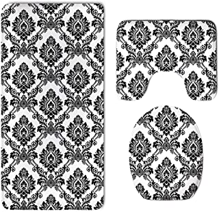 NiYoung Damask Antique Classical Damask Flowers Pattern Traditional Artwork Skidproof Toilet Seat U Shape Cover Bath Mat Lid Cover for Bathroom