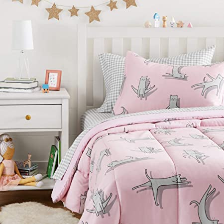 Amazon Basics Easy Care Super Soft Microfiber Kid's Bed-in-a-Bag Bedding Set - Twin, Pink Cats