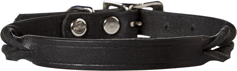Perri's DC500 Twisted Leather Dog Collar, XSmall, Black