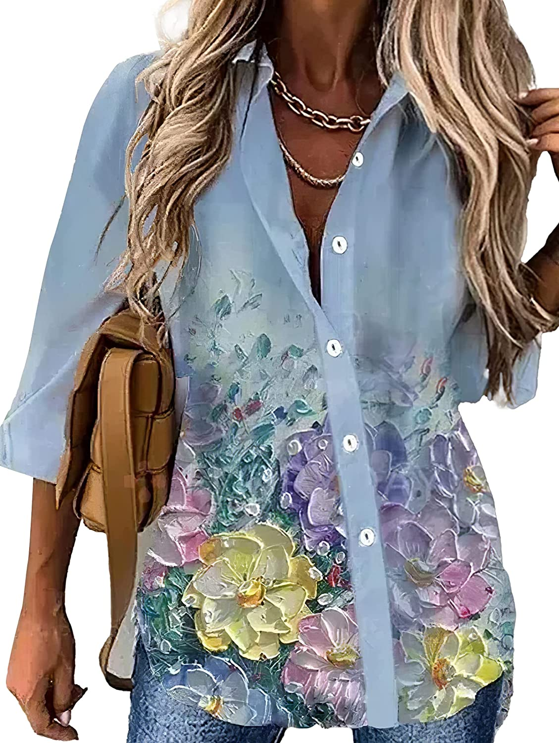 Women's Fashion Floral Print Button Down Shirts V Neck Long Sleeve Blouses Tops