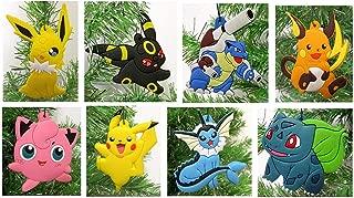 Christmas Ornament Pikachu and Friends 8 Piece Set - Unique Shatterproof Plastic Design