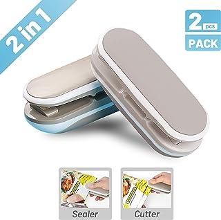 2PACK Mini Bag Sealer, AXD 2 in 1 Heat Sealer and Cutter Portable Bag Resealer, Hand Pressure Heat Sealing Machine Mini Food Sealer for Plastic Bags Food Storage Snack Fresh Bag