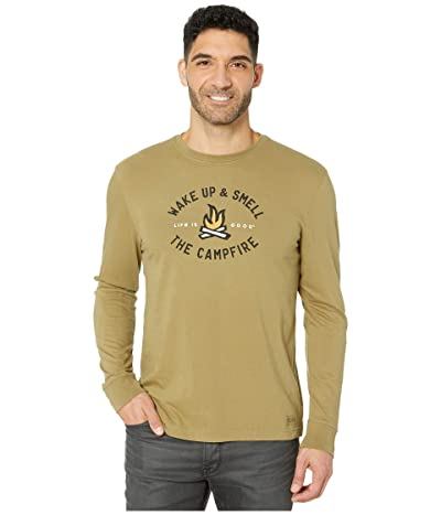Life is Good Smell The Campfire Long Sleeve Crushertm Tee (Fatigue Green) Men