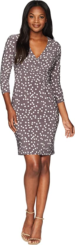 Ruched Wrap Front Dress - Stellar Dot Printed Ity