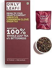 Onlyleaf Hibiscus Cinnamon Clove Green Tea , 27 Tea Bags (25 Tea Bags + 2 FREE Exotic Samples)
