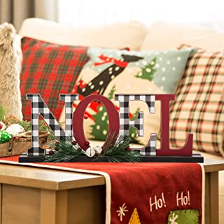 Glitzhome Noel Christmas Centerpiece Table Decorations 14.96 Inches Wooden Noel Decorative Display Sign on Table or Fireplace Christmas Table Decor Rustic Xmas Desk Decoration for Home and Kitchen