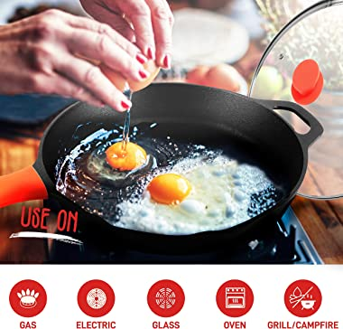 """NutriChef 12"""" Pre-Seasoned Cast Iron PFOA-Free Oven Safe Kitchen Nonstick Cookware Frying Pan Skillet w/Glass Lid, Drip S"""