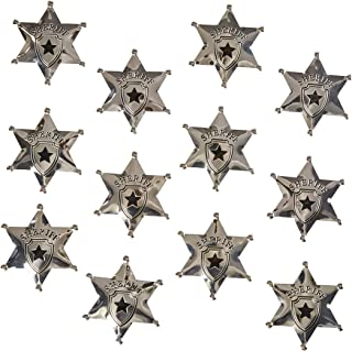 12-Pack Metal Sheriff Deputy Cowboy Toy Badges for Kids, Party Favors, and Pretend Play, 2.7 Inches Diameter