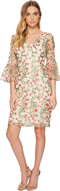 Adrianna Papell - Floral Vines Bell Sleeve Dress