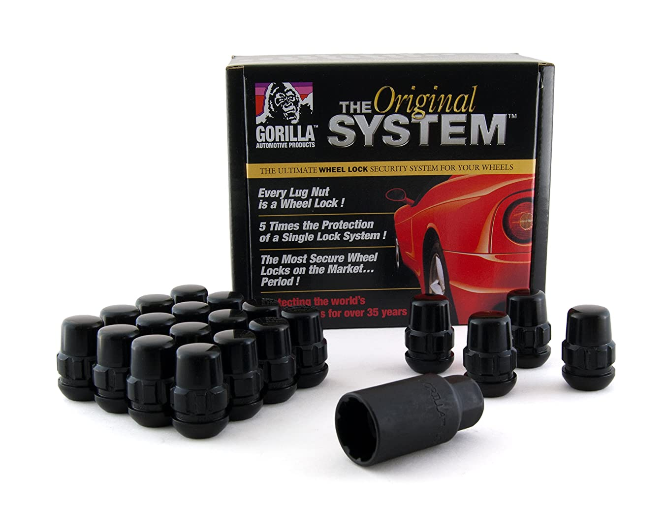 Gorilla Automotive Products 38433XLBC Ball Seat Wheel Lock System Black Chrome Set of 20 (12mm x 1.50 Thread)