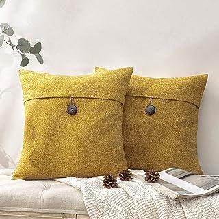 "Phantoscope Set of 2 Decorative Grey Yellow Linen Button Throw Pillow Case Cushion Cover 18"" x 18"" 45 x 45 cm"