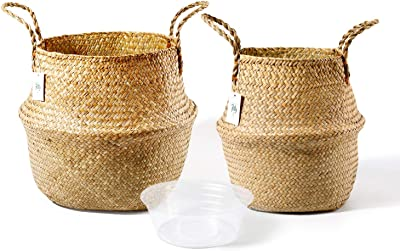POTEY 720102 Seagrass Plant Basket Set of 2 - Hand Woven Belly Basket with Handles, Large Storage Laundry Picnic Plant Pot Cover Home Decor & Woven Straw Beach Bag (L+XL)