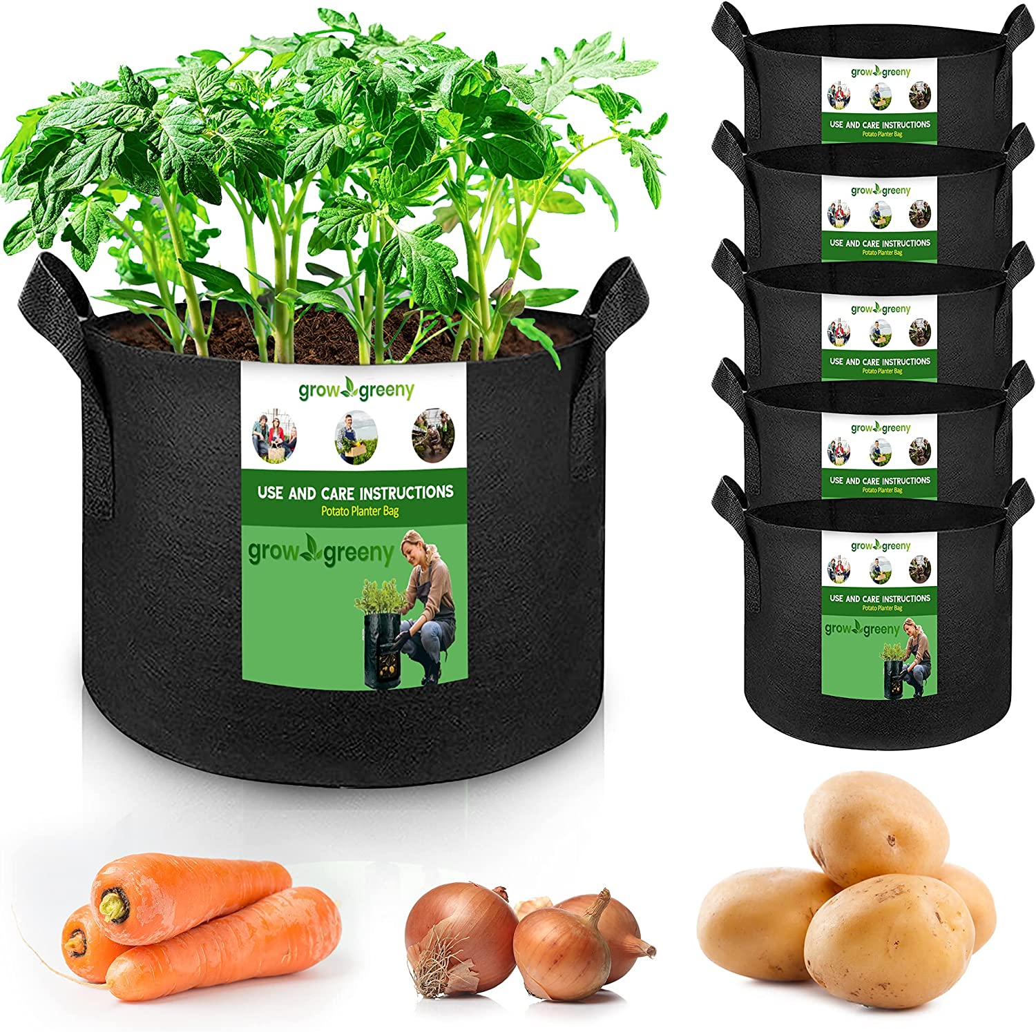 Grow Greeny Potato Bags 6 Pack Vegetab El Paso Mall for unisex Gallon 5 Growing