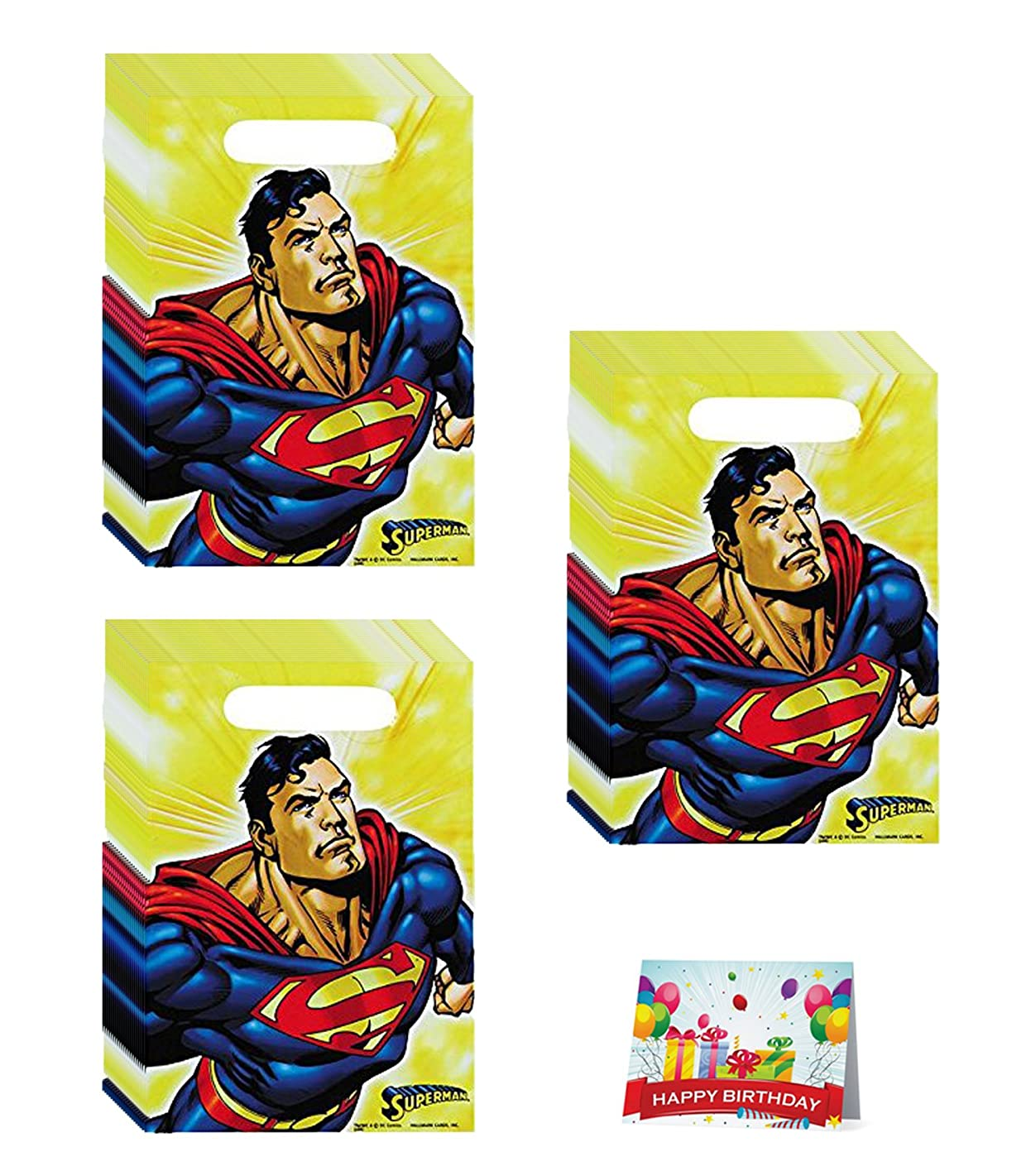 Superman Birthday Party Favor Treat Bags Bundle Pack of 24