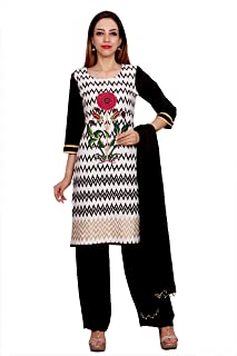 Rama Black & White Color Rayon Long Kurta with Black Colour Palazzo & Dupatta Set