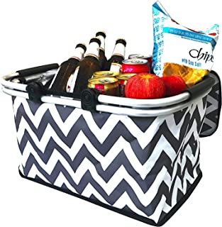 Large Insulated Picnic Basket Cooler | 9 Gal Capacity Leakproof Folding Collapsible Portable Market Basket Bag Set Aluminum Handles for Travel, Shopping & Camping | Keeps Wine, Food & Drinks Fresh