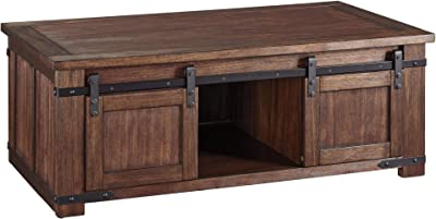 Benjara Rectangular Wooden Cocktail Table with 2 Barn Sliding Door Cabinets, Brown
