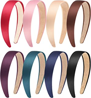 Blulu 8 Pieces Satin Headbands Anti-slip Ribbon Hair Bands for Women Girls Favors, 1 Inch Wide (Color Set 2)