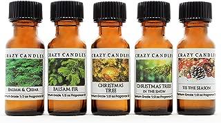Crazy Candles 5 Bottle Set (Made in USA) 1 Balsam & Cedar, 1 Balsam Fir, 1 Christmas Trees, 1 Christmas Tree in The Snow, 1 Tis The Season 1/2 Fl Oz Each (15ml) Premium Grade Scented Fragrance Oils