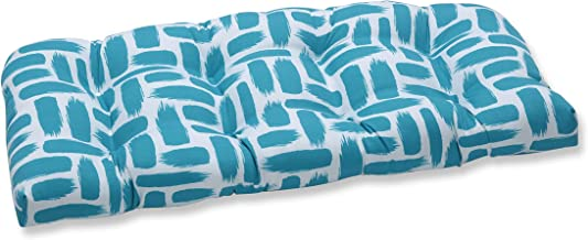 """Pillow Perfect Outdoor/Indoor Baja Turquoise Tufted Loveseat Cushion, 44"""" x 19"""", Blue"""