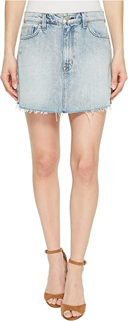 Vivid Denim Mini Skirt w/ Raw Hem in High & Dry