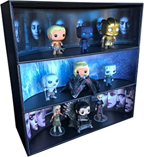 Display Geek 1 Stackable Toy Shelf for 4 in. Vinyl Collectibles with 3 Backdrop Inserts, Black Corrugated Cardboard