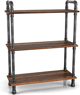 "Barnyard Designs Furniture 3-Tier Bookcase, Solid Pine Open Wood Shelves, Rustic Modern Industrial Metal and Wood Style Bookshelf, 38.5"" x 29.5""x 11.75"""