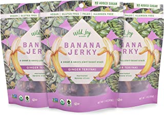 Wild Joy Goods Banana Jerky Organic Vegan Jerky, Paleo, No Added Sugar, Gluten Free Plant- Based Snack - Ginger Teriyaki Flavor, 3 oz bags (3 Pack)