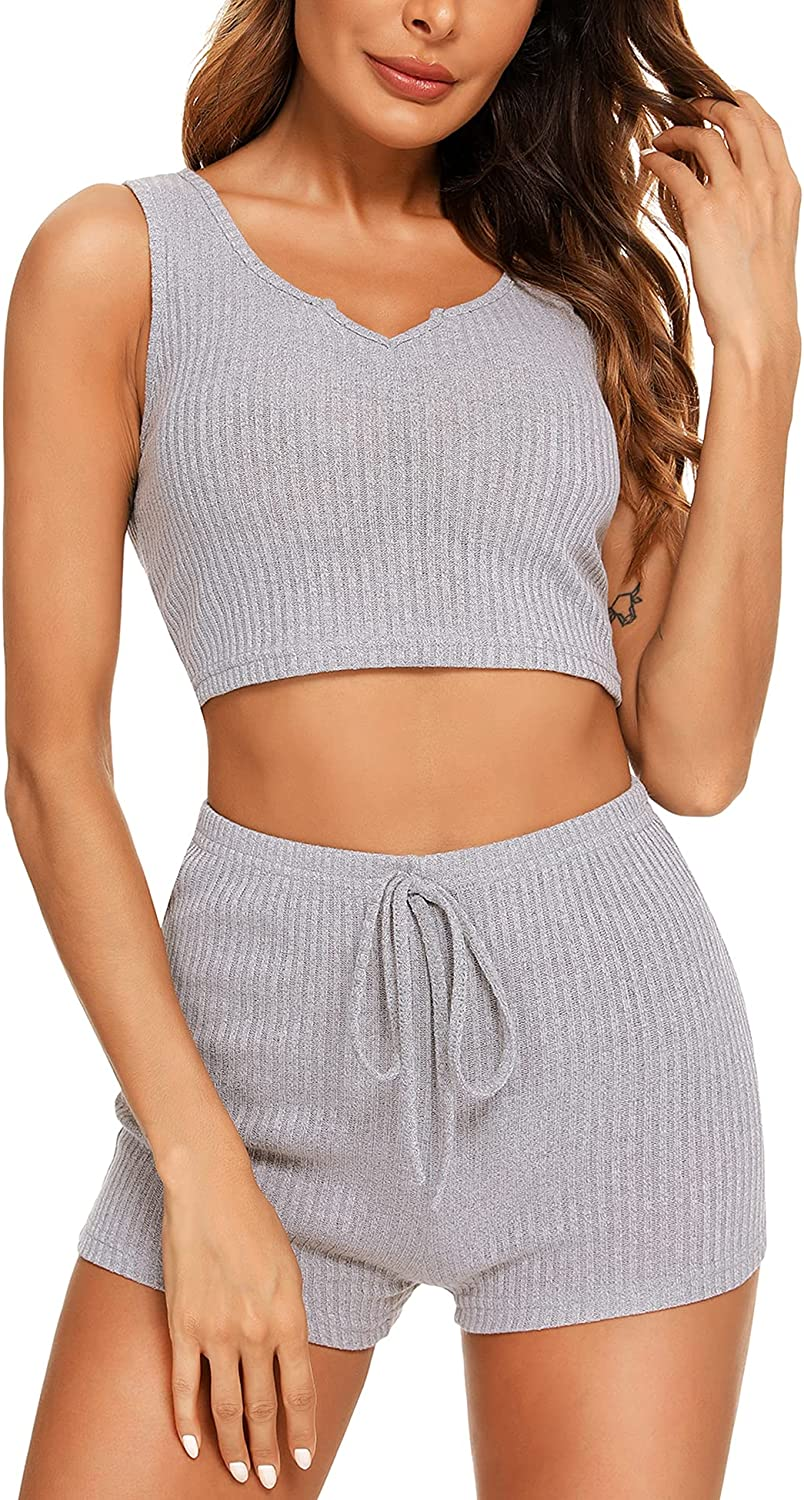 67% OFF of fixed price AGFAN Women Pajama Set Short Lounge V Max 58% OFF Top Crop 2 Neck Piece