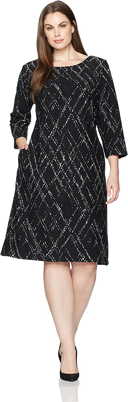 Taylor Dresses Womens Plus Size Matchstick Print Novelty Jacquard Knit Dress Dress