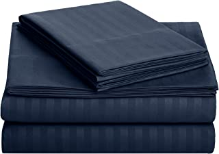 AmazonBasics Deluxe Striped Microfiber Bed Sheet Set - Twin Extra-Long, Navy Blue