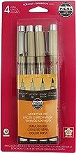 Sakura 50040 4-Piece Pigma Drawing Brush Pen Set, Sepia
