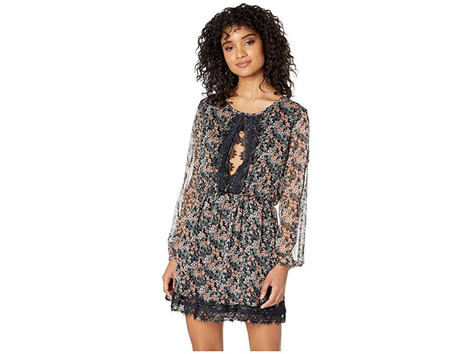 Roxy Side of Motion Printed Long Sleeve Lace Dress (Anthracite/Avania Floral) Women