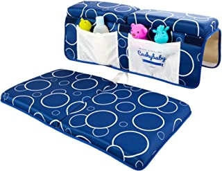 Cushybaby Bath Kneeler and Elbow Rest Pad Set - Thick, Non-Slip, Kneeling Mats Cushion and Protect Arms and Knees So You Can Bathe Your Baby in Comfort! Enjoy Tub Time as Much as Your Kids Do! (Blue)
