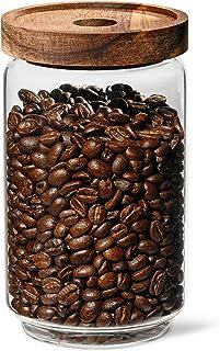 VIENESSO Kaffeburk lufttät av glas (750 g) – kaffebönbehållare (kaffe, te, kakao, nudlar etc.) med aromat lock för färska ...