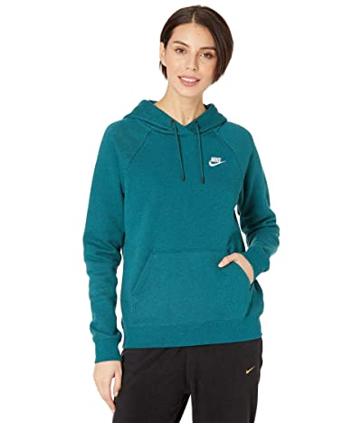Nike NSW Essential Hoodie Pullover Fleece (Dark Atomic Teal/Heather/White) Women